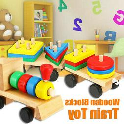 developmental toys wooden train truck geometric blocks