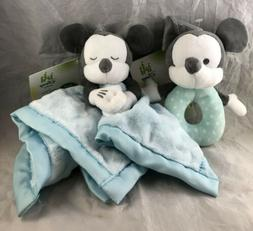 "Disney Baby Mickey Mouse Blankie 8"" + Rattle 6"" Plush Cute T"