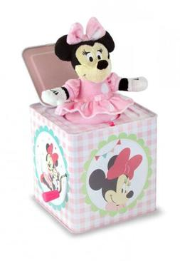 """Disney Baby Minnie Mouse 6.25 """"Jack-in-the-Box Tin Toy Schyl"""