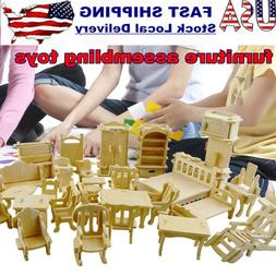 DIY Wooden Models 3D Gift Miniature Puzzle Set House Furnitu
