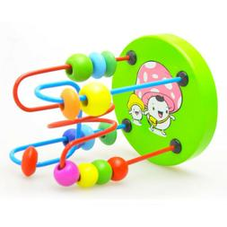 Educational Baby Kids Wooden Around Beads Toy Toddler Infant