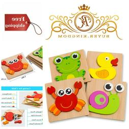 Educational Preschool Wooden Jigsaw Toddlers Puzzles Play 4
