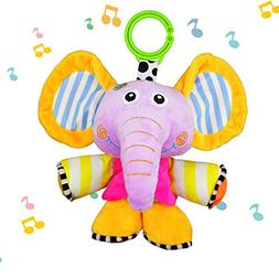 JAMSWALL Elephant Animal Musical Plush Infant Toys, Pull Str