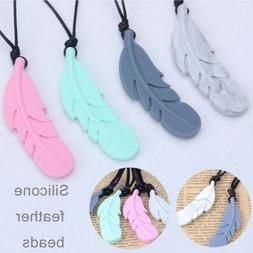 Feather Pendant Baby Teether Silicone Soother Chew Toy Teeth