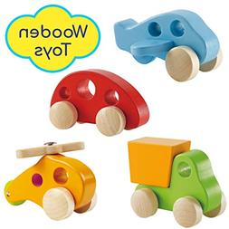 Wooden Cars Infant Toys – Hape Wooden Toy Cars Airplane Tr