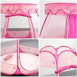 Girls Pink Princess Cute Playhouse Kids Play Pop-up Tent Toy