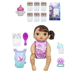 Baby Alive Baby Go Bye-Bye Bundle: Brunette Doll with Baby A