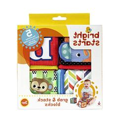 Grab and Stack Block Toy Bright Starts 4 Soft Blocks for Bab