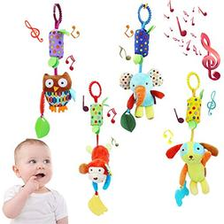 4 Pieces Baby Hanging Rattle Toys - Newborn Car Crib Hanging