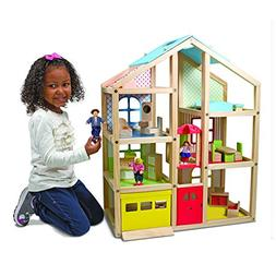 Melissa & Doug Hi-Rise Wooden Dollhouse With 15 pcs Furnitur