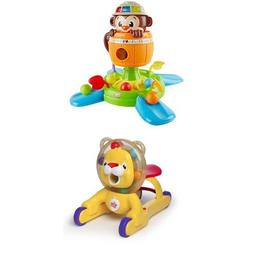 Bright Starts Hide N Spin Monkey and 3-in-1 Step 'n Ride Lio