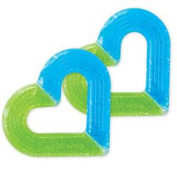 Munchkin 2 Piece Ice Heart Soothing Teether, Blue/Green