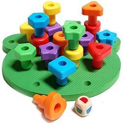 Jumbo Shapes Peg Board Toddler Games Set - Educational Baby