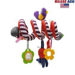 Kid Baby Crib Cot Pram Hanging Rattles Spiral Stroller Car S