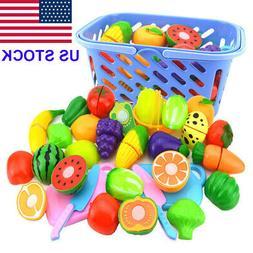 Kids Baby Fruit Role Play Fruit Food Cutting Set Reusable Ne