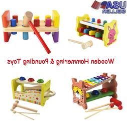 Kid Wooden Hammering&Pounding Toys+8 Notes Xylophone+Shape C