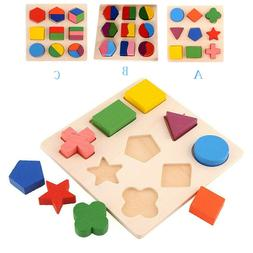 Kids Baby Wooden Geometry Educational Toys Puzzle Montessori