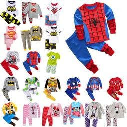 2Pcs Kids Boys Girls Baby Cartoon Casual Suit Outfits Nightw