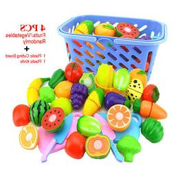 Kids Pretend Role Play Kitchen Fruit Vegetable Food Toy Cutt