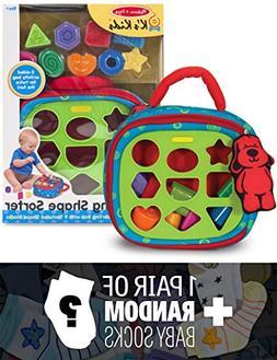 K's Kids Take-Along Shape Sorter Baby Toy + 1 FREE Pair of B