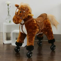Kids Walking Pony Rocking Horse Ride On Toy Plush Baby Toddl
