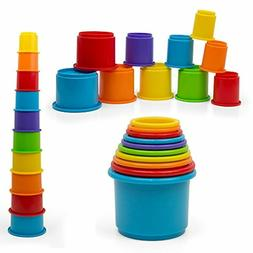 Kidsthrill Baby Stacking Cups Toy Stackable 10 pc Rainbow Ne