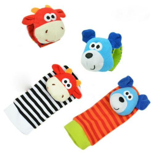 2PCS Soft Baby Sensory Toys Foot-finder Socks Wrist