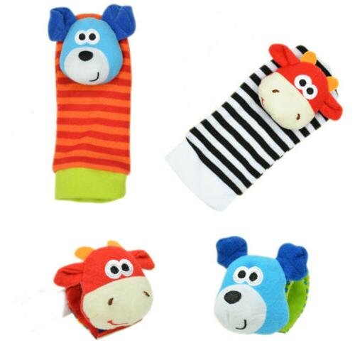 2PCS Rattle Baby Sensory Toys Foot-finder Socks Wrist Rattles Bracelet