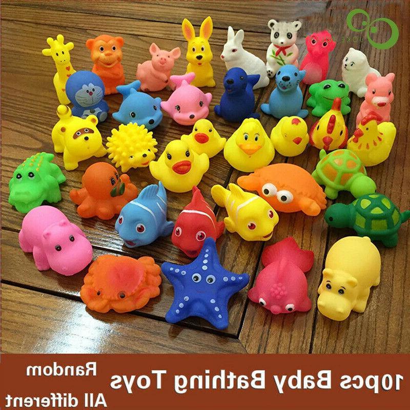 10 pcs baby bath toys soft rubber
