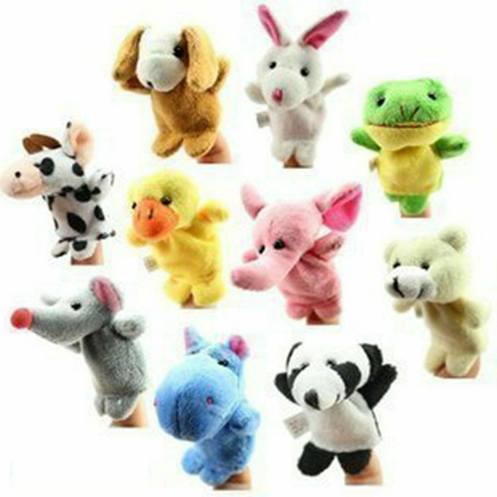 10PCS/set Cartoon Animal Finger Puppets Dolls Baby New