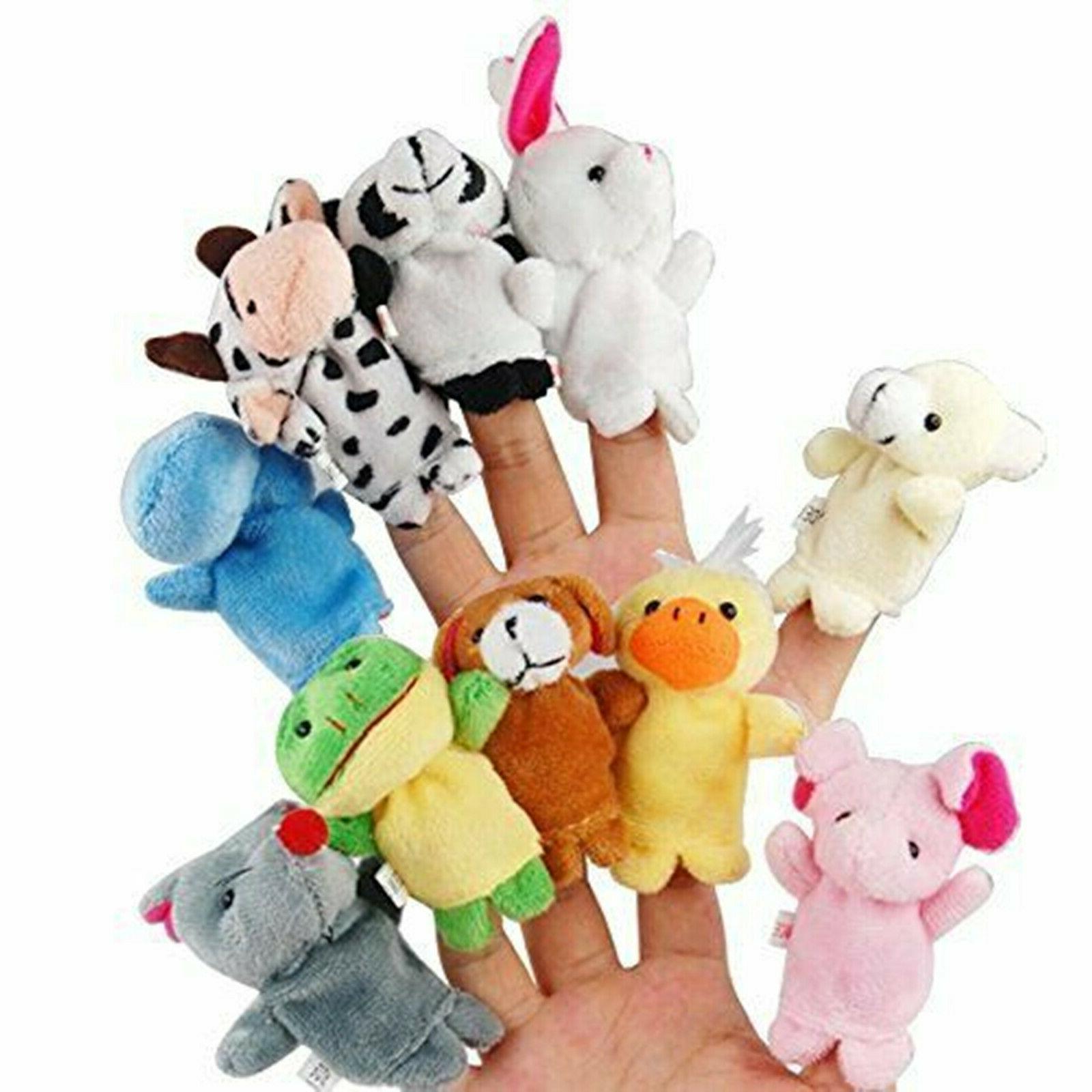 10PCS/set Cartoon Animal Finger Puppets Dolls Baby Toys
