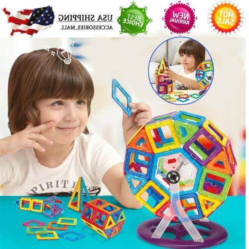 113pc magnetic tiles building blocks education toys
