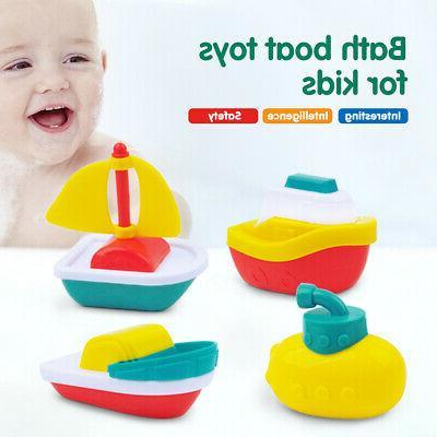 4PACK BABY TOYS FLOATING BOATS PLASTIC BATH PLAYSET FLEET