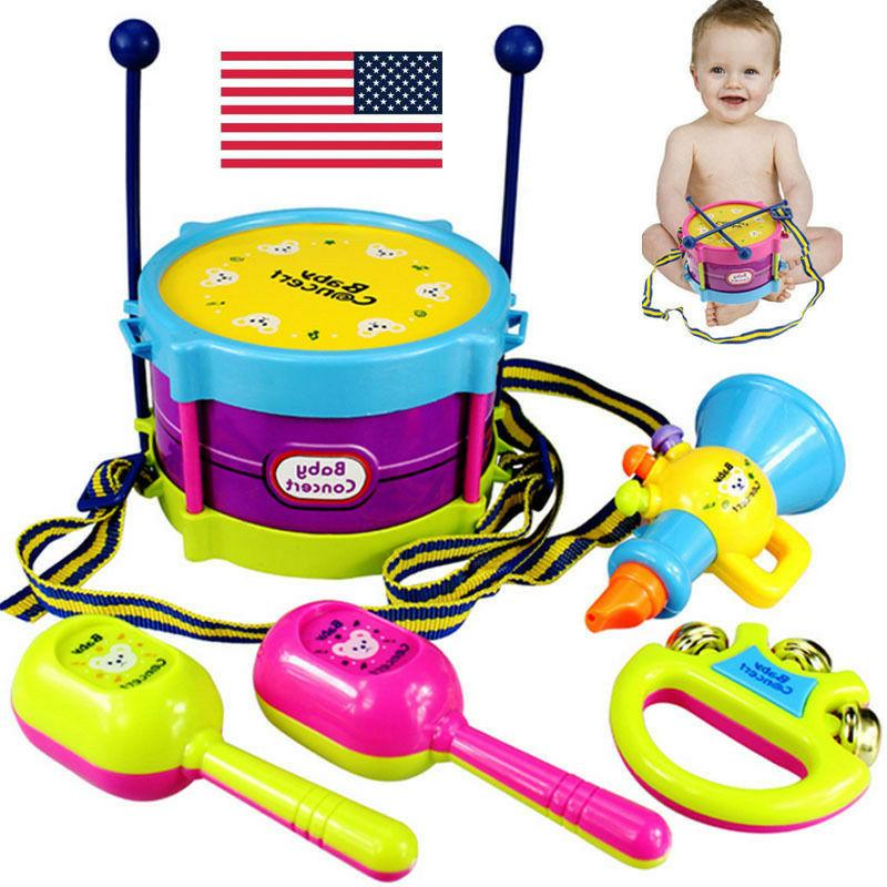 5pcs kids baby roll drum musical instruments
