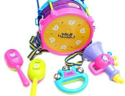 5pcs kids baby educational roll drum musical