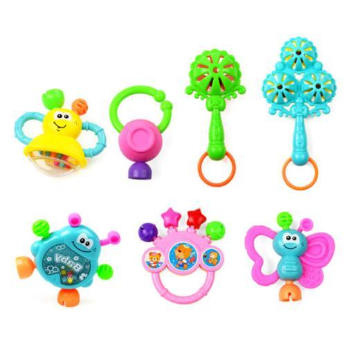 7Pcs Toddler Shaking Bell Rattles Teether Toys Kids Hand HI