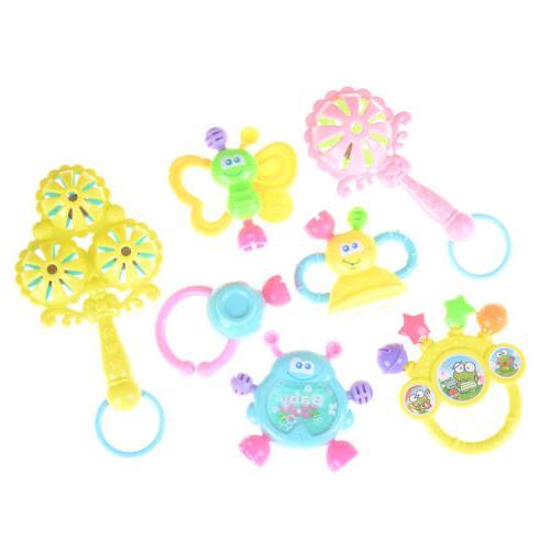 7Pcs Newborn Toddler Shaking Rattles Teether Toys Kids Hand HI