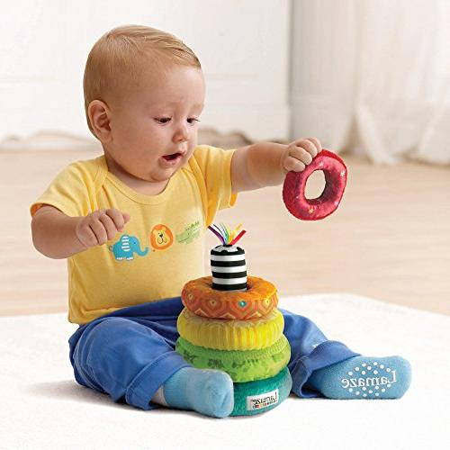LAMAZE Stacking Rings Develop Skills and Hand-Eye Coordination with Multiple Textures, Bold Playful Sounds, 6 Months Older