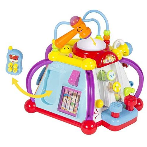 WolVol Educational Baby Toy Musical Activity Cube Center Lights, of and Skills for and