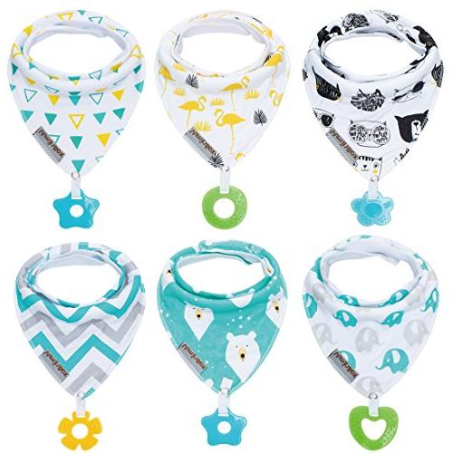 Baby Bandana Drool Bibs and toys with 100% 6-Pack