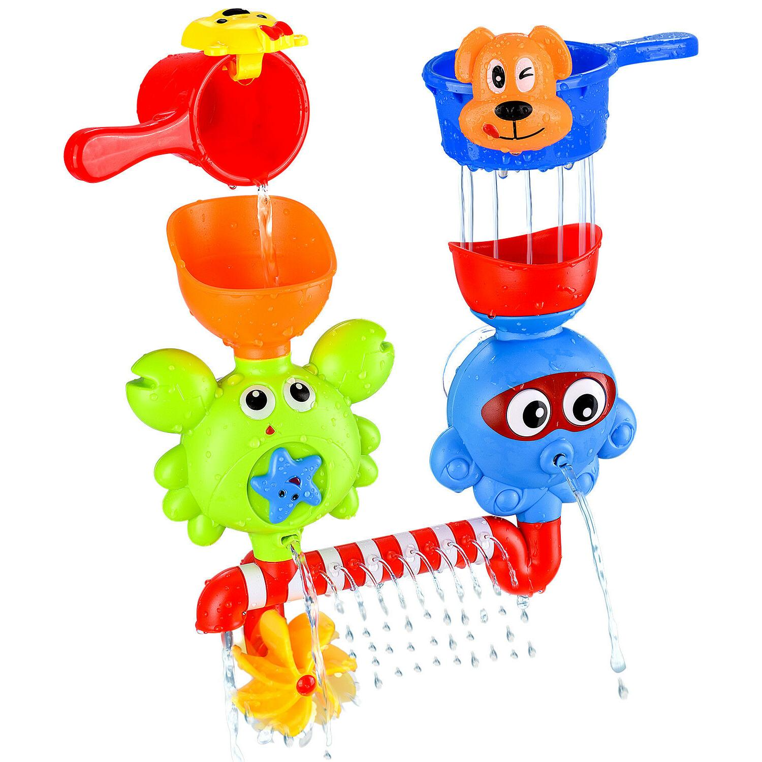 baby bath waterfall toys stackable cups bathtub