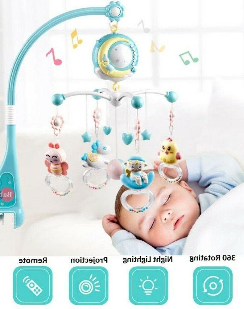 Baby Crib Mobile Musical Bed With Music Night Light Toy