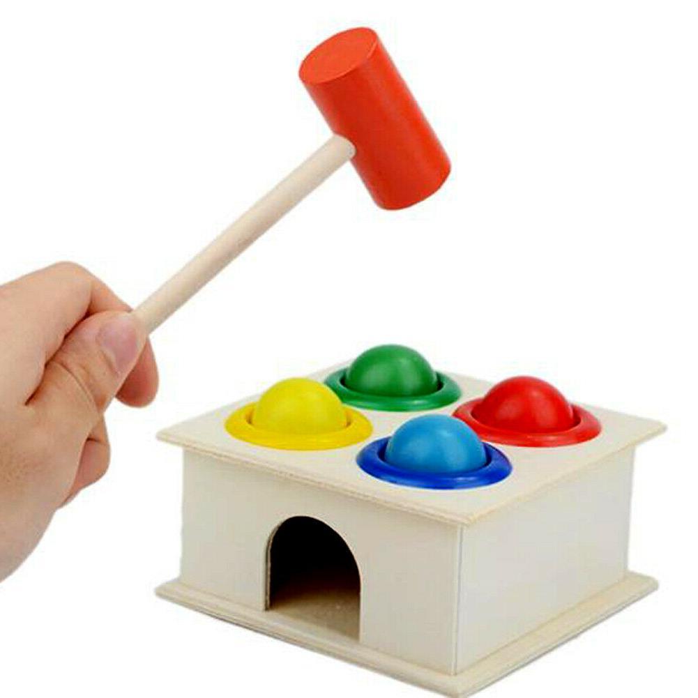 baby hammering wooden ball hammer box children