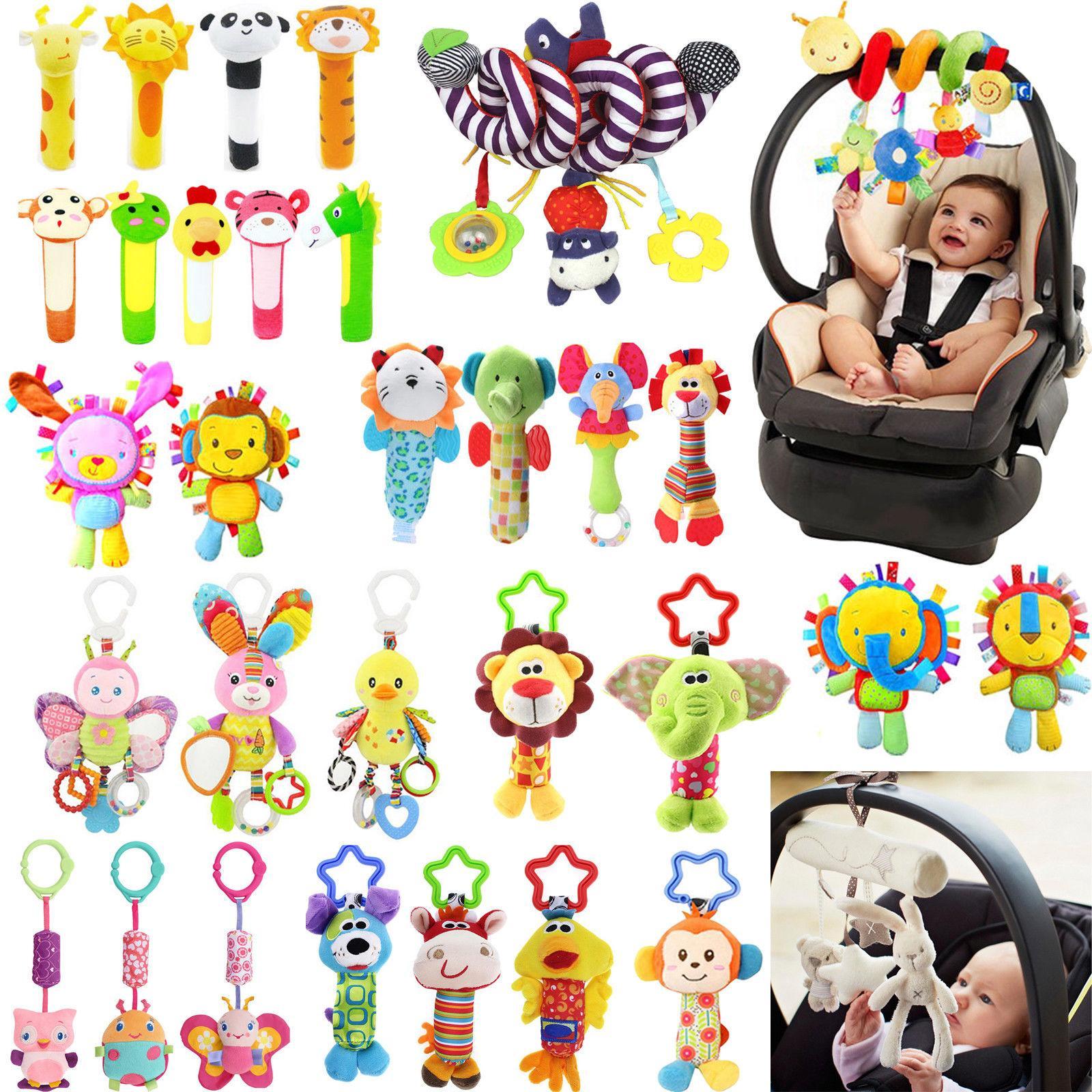 baby infant rattles plush animal stroller hanging