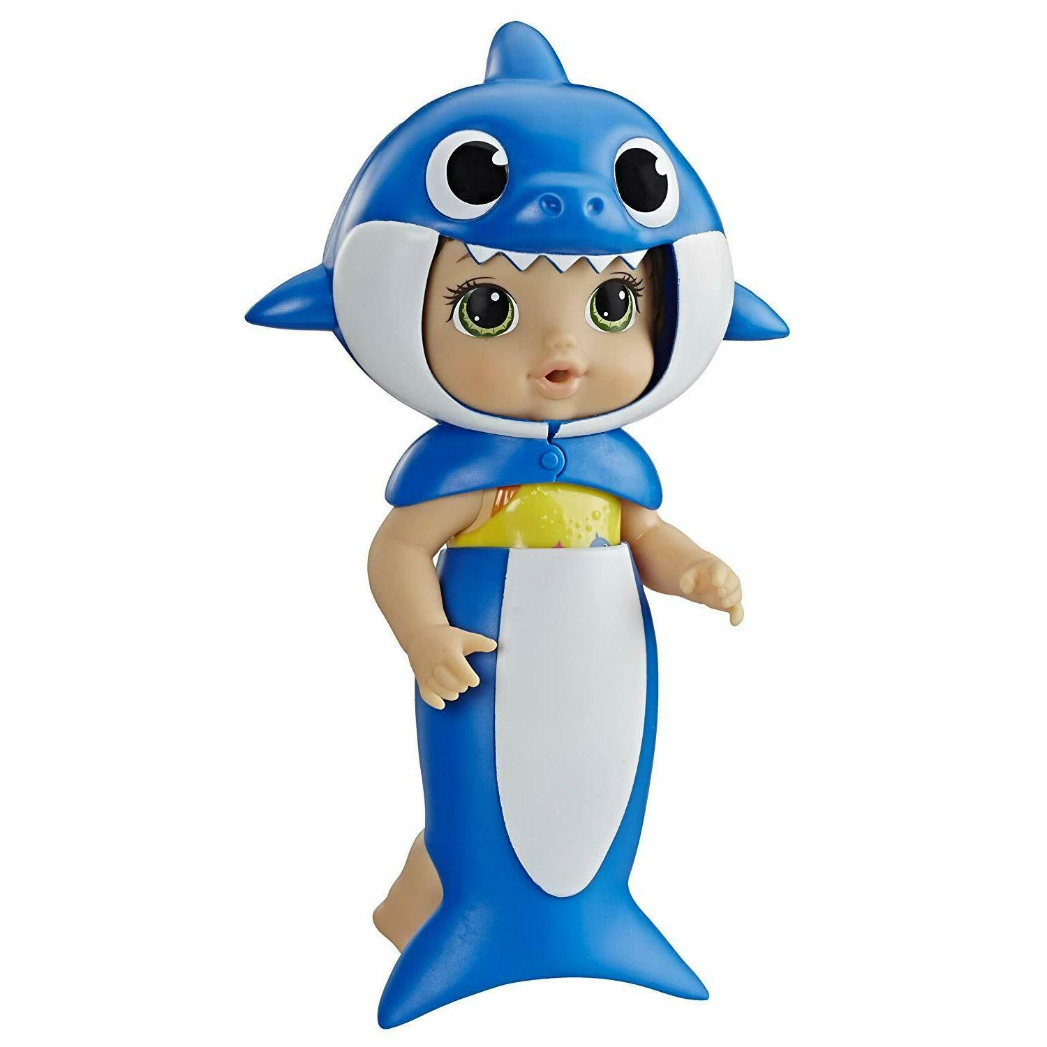 baby shark blonde hair doll with tail