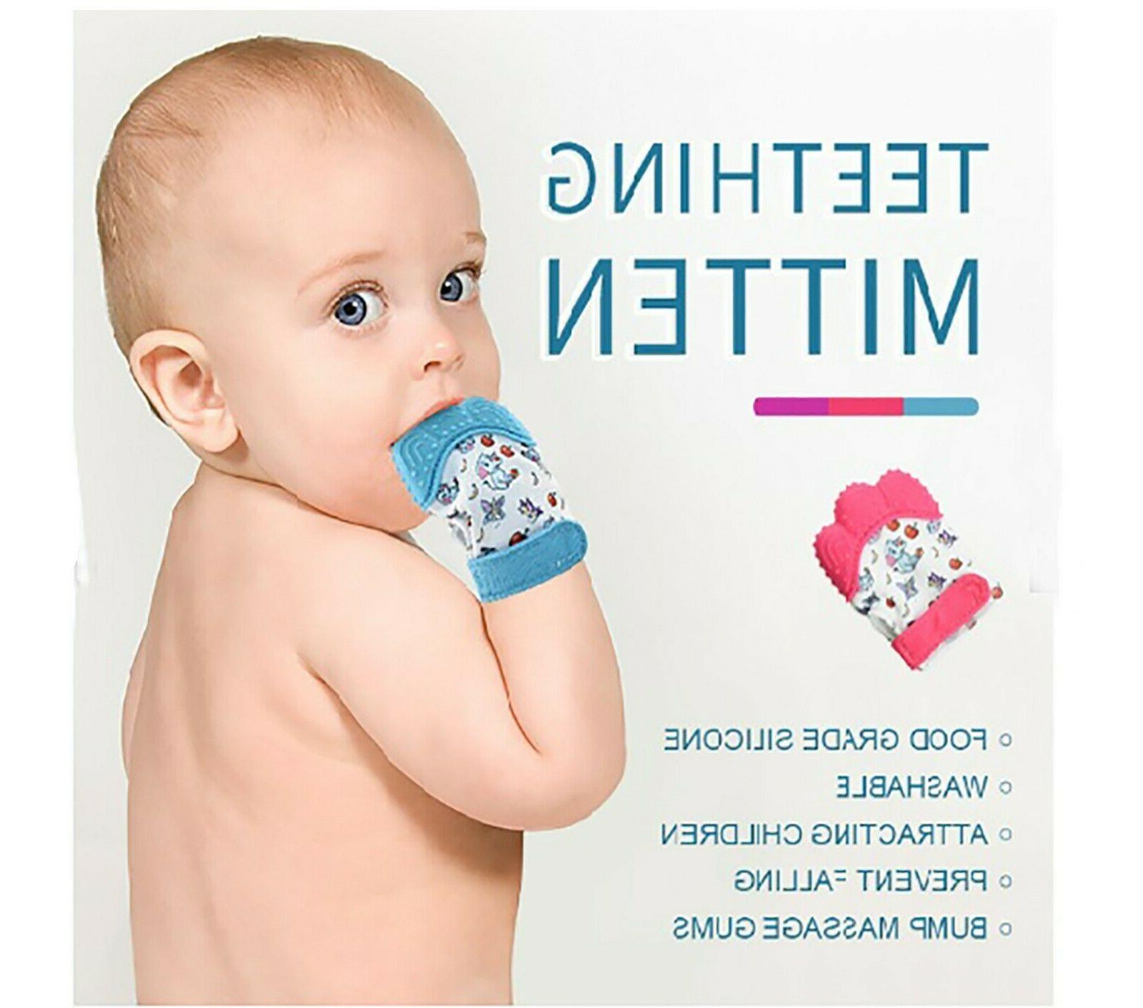baby teething glove silicone teething mitten hand