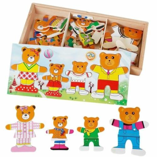 baby wooden bear changing clothes toys puzzle