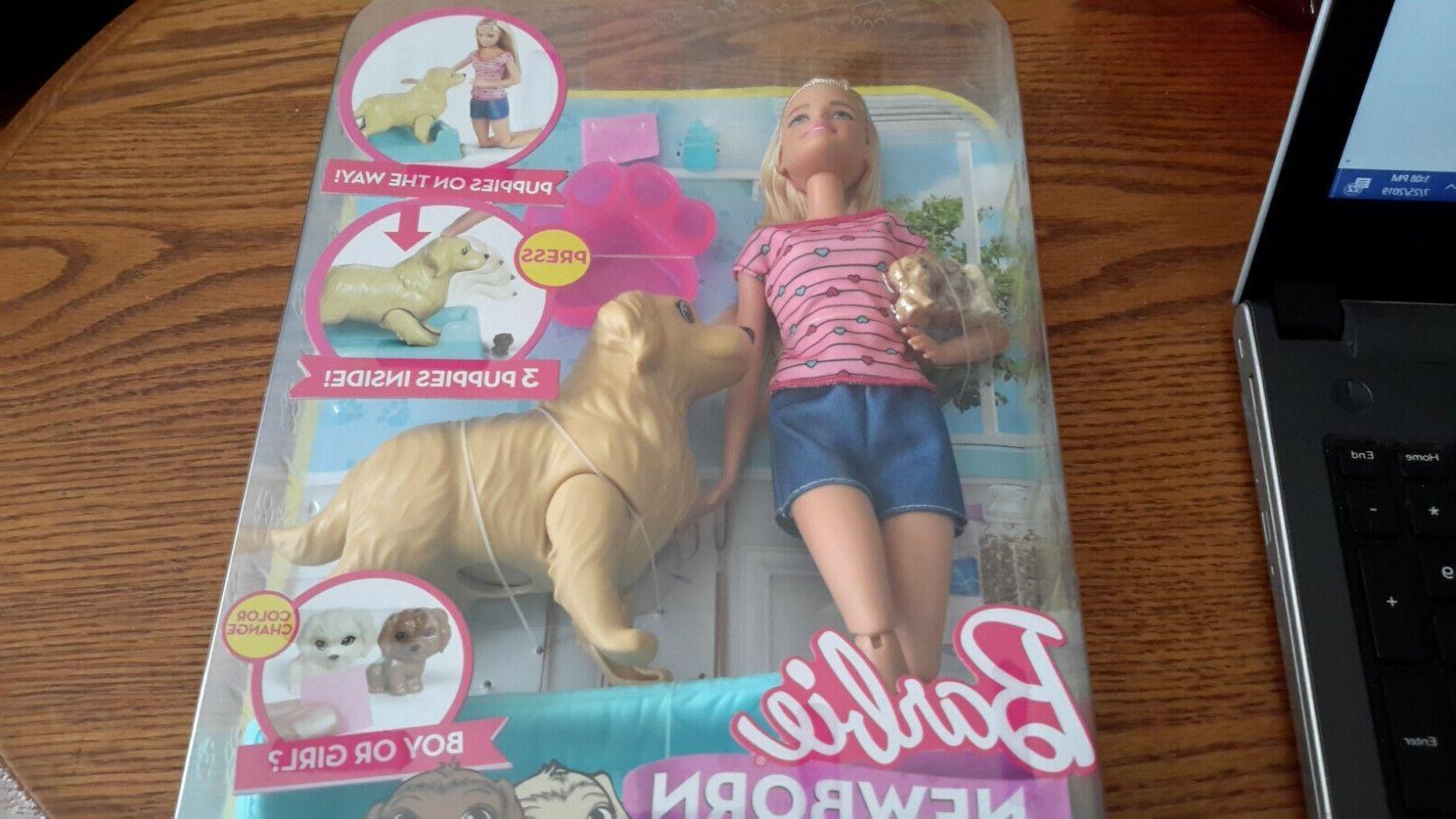 barbie newborn pups doll pets playset blonde