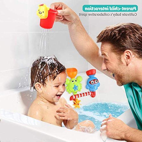 Bath Babies Kids 2 3 Year Boys Girls Bath Wall Flow and Waterfall Station with Bath Toys Toxic