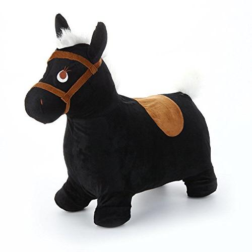 Black Hopping Horse, Ride On Play Toys, Inflatable Hopper Plush Activities 3, 4, Old Girls iPlay,